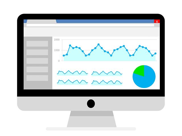 Monitor mit Statistiken zur Suchmaschinenoptimierung