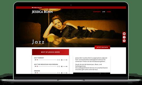 Portfoliobild als Referenz - Website von Jessica Born auf einem MacBook zu sehen